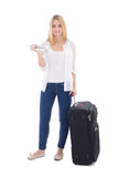 Young attractive blondie woman with suitcase, passport and ticke Royalty Free Stock Photo