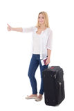 Young attractive blondie woman with suitcase, passport and ticke. T thumbs up isolated on white background Royalty Free Stock Images