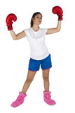 Young and attractive boxer girl royalty free stock photos