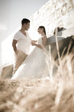 Young attractive bridal couple flirting outdoors Royalty Free Stock Photos