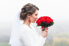 Young attractive bride with the bouquet of red roses over snowy Christmas background Royalty Free Stock Photos