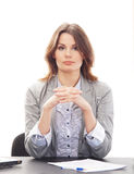 A young and attractive brunette businesswoman Stock Photos