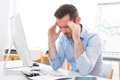 Young attractive business got headache because of burn out Royalty Free Stock Photography