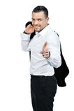Young attractive business man pointing at you and smiling Royalty Free Stock Image