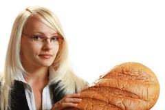 A young attractive business woman with big bread Royalty Free Stock Image