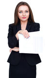 Young attractive business woman in black dress with documents on white background Stock Photo