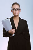 Young attractive business woman with contract Stock Images
