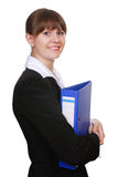 Young attractive business woman with folder. Portrait of young attractive business woman with blue folder isolated on white background Royalty Free Stock Images