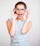 Young attractive business woman with glasses Royalty Free Stock Photos