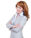 Young attractive business woman in grey suit Stock Images