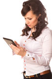 Young attractive business woman holding tablet PC with touch pad Royalty Free Stock Image