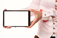 Young attractive business woman holding tablet PC with touch pad Royalty Free Stock Photography