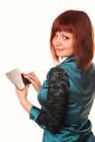 Young attractive business woman holding tablet PC with touch pad Royalty Free Stock Photos
