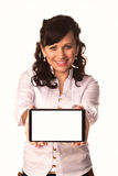 Young attractive business woman holding tablet PC with touch pad Royalty Free Stock Images