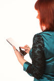 Young attractive business woman holding tablet PC with touch pad Stock Photography