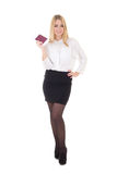 Young attractive business woman with passport and ticket isolate Royalty Free Stock Image