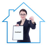 Young attractive business woman real estate agent showing contra Stock Photos