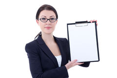 Young attractive business woman showing clipboard isolated on wh Stock Photography
