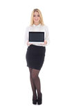 Young attractive business woman showing laptop isolated on white Royalty Free Stock Images