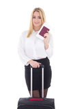 Young attractive business woman with suitcase, passport and tick Royalty Free Stock Photo