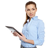 Business woman uses a mobile tablet Stock Images