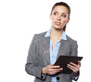 Business woman uses a mobile tablet Royalty Free Stock Photography