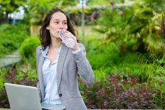 Young attractive business woman working at the park during a pau Royalty Free Stock Photo