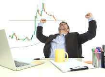 Businessman crazy happy after winning forex or stocks trade at office computer desk celebrating royalty free stock photo