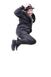 Young attractive businessman jumping Stock Image