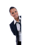 Young attractive businesswoman behind the wall Royalty Free Stock Images