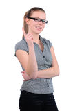 Young attractive businesswoman finger pointing up Royalty Free Stock Image