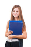 Young attractive businesswoman with folders Stock Images