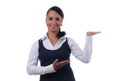 Young attractive businesswoman hands pointing up Stock Images