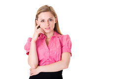 Young attractive businesswoman, hard desicion Stock Images