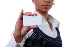 Young attractive businesswoman holding a card Stock Image