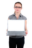 Young attractive businesswoman holding laptop Royalty Free Stock Photo