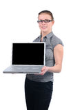 Young attractive businesswoman holding laptop Stock Photo