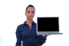 Young attractive businesswoman holding laptop Royalty Free Stock Images