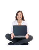 A young and attractive businesswoman with a laptop Royalty Free Stock Photos