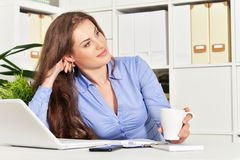 Young attractive  businesswoman with laptop Royalty Free Stock Photography
