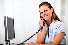 Young attractive businesswoman on phone Royalty Free Stock Images