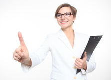 Young attractive businesswoman pressing the touchscreen button. Royalty Free Stock Images