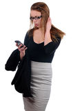 Young attractive businesswoman using mobile phone Royalty Free Stock Photos