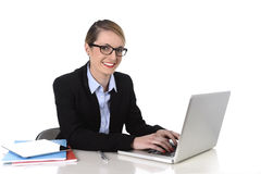 Young attractive businesswoman working happy smiling in success at work concept Stock Photos