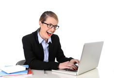 Young attractive businesswoman working happy smiling in success at work concept Stock Image