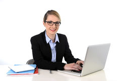 Young attractive businesswoman working happy smiling in success at work concept Stock Images