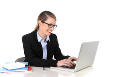 Young attractive businesswoman working happy smiling in success at work concept Royalty Free Stock Photos