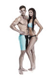 Young attractive caucasian couple swimmers in swimsuits Royalty Free Stock Image