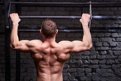 Young attractive caucasian crossfit sportsman working out in gym, rear view Stock Photo
