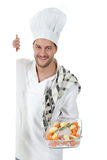 Young attractive chef caucasian male , tenderloin Royalty Free Stock Image